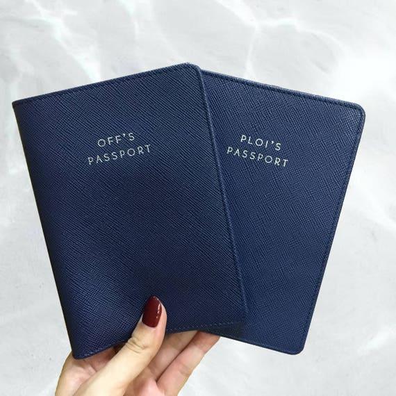 Monogramm Reisepass-Cover personalisierte Leder Pass Halter