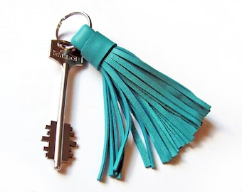 Leather Tassel Keychain, Turquoise color