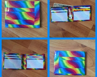 Rainbow and White Duct Tape Wallet
