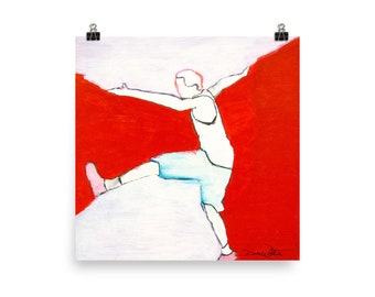 Expressive Dance Art Print, Expressive Movement Painting, Dance Therapy, Dance Movement Therapy, Red and White Dance Artwork, Dance Painting