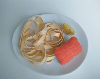 My felt food: salmon steak and noodles