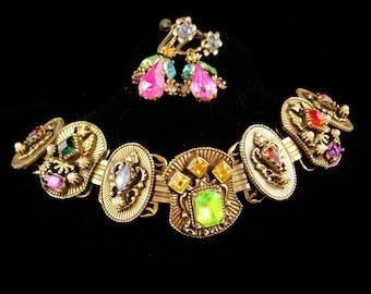 Antique Bookchain bracelet / Victorian bracelet / Edwardian Earrings / Crown rhinestone / renaissance revival / Vintage costume jewelry