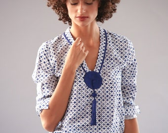 Nadia's Moroccan Cotton Shirt Tassel Blue White Print