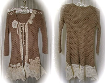 Taupe Crocheted Sweater, romantic doily lace embellished, boho sweater, victorian shabby chic altered couture refashion clothing, X SMALL JR