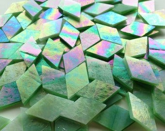 Mosaic Tiles - 100 Small Diamonds - Iridescent Green Stained Glass - Hand-Cut