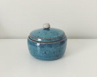 Blue Ceramic Treasure Jar, blue ceramic Jar, blue Ceramic pottery handmade ceramic salt cellar, lidded jar, speckled pottery