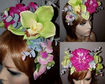 Forêt fée Couronne, couronne de fleurs, mariage Bohème, coiffe de la nature, dans les tons bleus