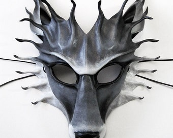 Leather wolf mask, handmade and hand-painted in grey, black, white, timber, arctic, direwolf, werewolf