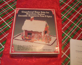 Vintage 1979 gingerbread House Bake Kit 8 metal pieces Instruction included with Recipe's Included Lovely Idea for showing off your baking