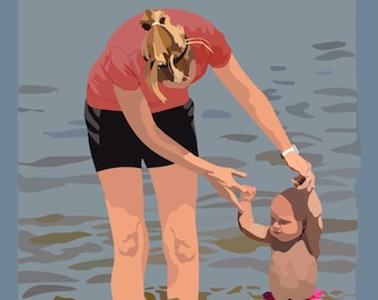 "8"" x 10"" Digital Print Titled ""Baby's First Swim"" Original Art, Signed & Dated"