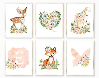Peach Nursery Art. Peach Nursery Decor. Peach Nursery Prints. Peach Watercolor Nursery Art. Floral Nursery. Girl Nursery. Nursery Ideas. Art