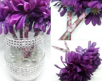 4 Doughnut Flower Pen Bouquet - handmade - Flower Party Favor - Wedding Guestbook pen - wedding pen Bouquet