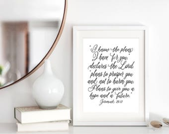 Jeremiah 29 - For I Know The Plans I Have For You - Scripture Sign - Bible Verse Chalkboard - Poster - Jeremiah 29 11 - Bible Verse Art
