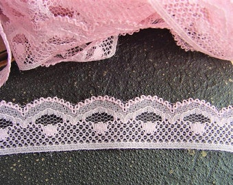 5 Yards = 4.57 Meters of Pink Lace For Sewing Costume Design Lingerie Dolls clothing's Lamp Shades Scrapbooking Embellishing Lace Trim