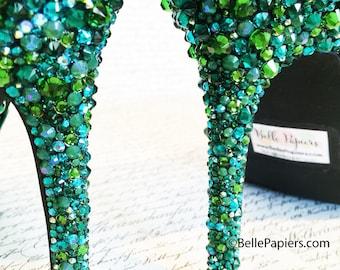 Swarovski Crystal Rhinestone Stilettos High Heels Pumps Shoes Crystal Embellished Shoes Strass Strassed Sky High Heels Buttons Button Shoes