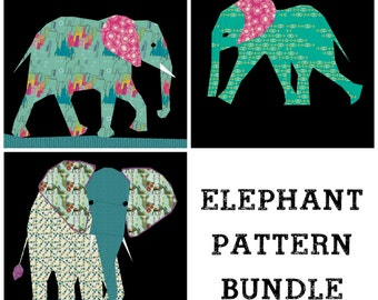 Elephant Quilt Pattern Bundle, Foundation Paper Pieced Block, Elephant quilt, Animal Quilt, Safari Quilt, Paper Pieced Quilt, Quilt Block
