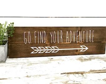 Rustic Wood Sign - Rustic Home Decor - Rustic Decor - Rustic Wall Hanging -Arrow Wall Hanging-Find your adventure-Graduation Gift -Wood Sign