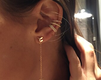 14k gold ear cuff set! Hot! Huggie ear cuff, diamond Cz ear cuff,   cuff, tiny ear, sterling/ 14 k gold diamond GLAM ear cuff 2 cuff set!