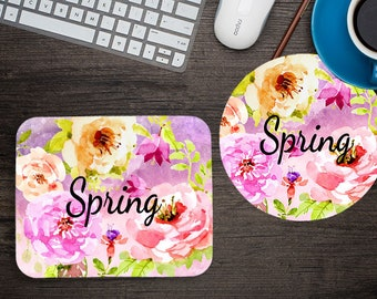 Monogrammed Floral Mouse Pad - Personalized Mouse Pad - Roses - Computer Accessory