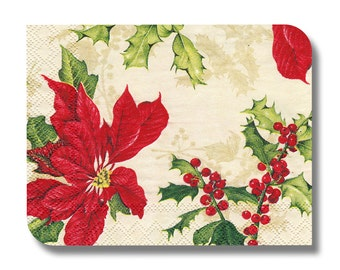 Poinsettia paper napkin for decoupage (cocktail)  x 1 Floral Christmas. No 1105