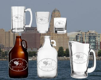 Buffalo NY  Etched Beer Glass - Growler - Mug - Pitcher