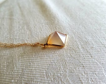Agate Pyramid Necklace / Gold Filled