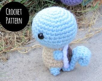 CROCHET PATTERN - Chibi Pokemon Amigurumi - Squirtle. DIY Squirtle Squad Plush Toy.