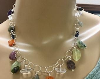 Gemstone necklace Carnelian, quartz, Tourmaline, quartz rutilated , Kyanite, Semi precious stone necklace on Sterling chain
