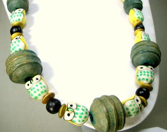 OWL Necklace, Hand Painted Porcelain Yellow Birds & Muted Green Wood Recycled Beads, Bird of Prey Fetish Necklace, OOAK by Rachelle Starr