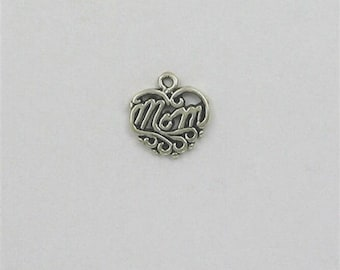Sterling Silver Ornate Mom Heart Charm