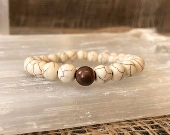 Howlite Bracelet with Copper Grounding Bead