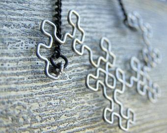 Fractal Necklace - Dragon Curve in Antiqued Silver
