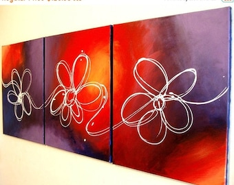 "Wall triptych art ""floral delight"" modern painting Abstract Painting flower floral art  huge wall art large 48 x 20 """