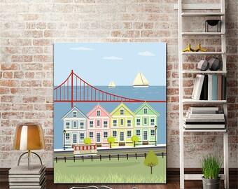 San Francisco print,houses print,san francisco art, living room art, nursery decor,modernist art,golden gate , 4 sizes included