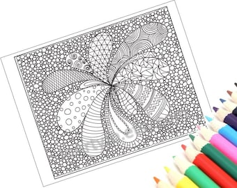 Coloring Page, Zentangle Inspired, Printable Zendoodle Pattern PDF - Page 8