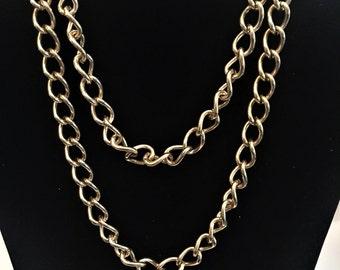 """Vintage Monet Chain Necklace, Long Monet Chain, 30"""" Necklace, Gold Tone, Vintage Chain, Vintage Jewelry"""