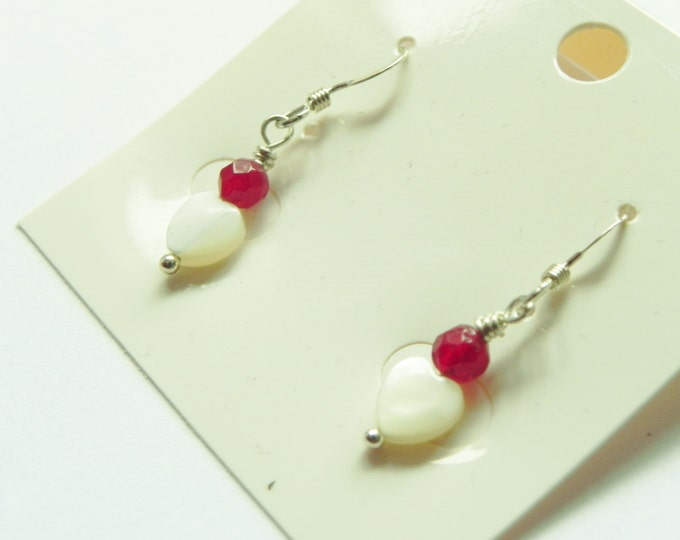Red jade and white mother of pearl heart sterling silver earrings