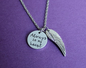 Always in my heart Necklace - Angel Wing Necklace - Remembrance Necklace - Memorial Necklace - Loss Necklace - Sympathy Gift - Grief Gift