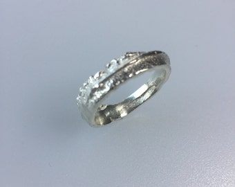 Chunky Silver Ring, Sand Cast, Organic