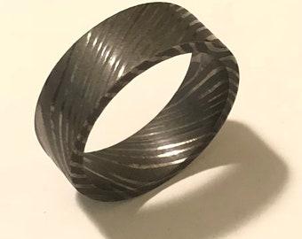 Damascus Steel Ring 21mm - 11 1/2