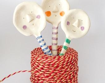 Keramik Löffel mit einem Gesicht, dekorative Löffel, ornamentalen Löffel, süße Löffel, Zuckerlöffel