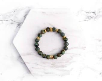 Green Gemstone Bracelet, Beaded Stacking Bracelet, Gold Bracelet, Beaded Bracelet, Boho Bracelet, Gifts for her, Modern Stacking Bracelet,