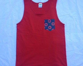 Men's Fishman Donut Pocket Tank Top in Red Phish Shirt / You Enjoy My Shirt