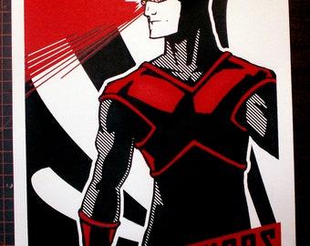 X-Men Cyclops Soviet Poster Handpulled Silkscreen Print