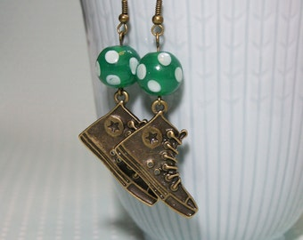 Bronze sneaker earrings with green polka dot lampwork beads