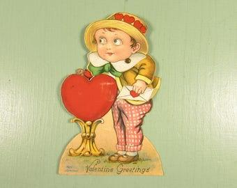 Mechanical Valentine Card - Vintage Google Eyes Boy Dove Germany