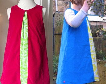 Bespoke girls a-line dress, bespoke toddler dress, bespoke girls clothing, custom girls dress, custom toddler dress, girls pinafore