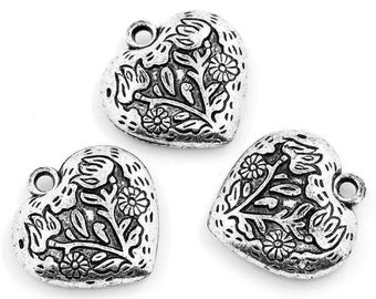 set of 4 charms heart 30 mm acrylic