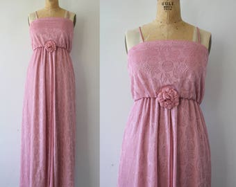 vintage 1970s maxi dress / 70s dusty pink floral formal dress / 70s prom dress / 70s pink roses dress / 70s full length dress / small