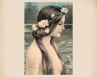 Art Nouveau Fantasy Mermaid New 4x6 Vintage Postcard Image Photo Print RA65